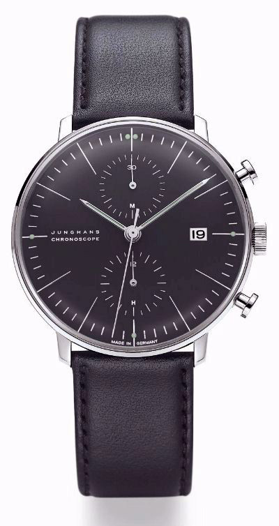 mens watches max bill chronoscope black dial watch w leather strap nova68 modern design. Black Bedroom Furniture Sets. Home Design Ideas