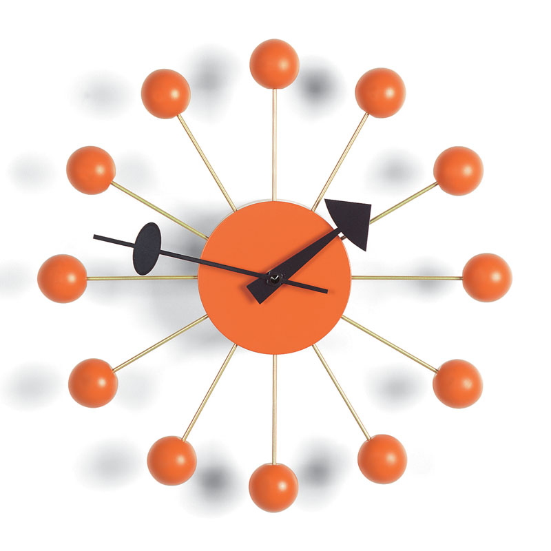 George Nelson Modern Orange Wood Ball Clock From Vitra Wall Clocks Click To View Additional Images