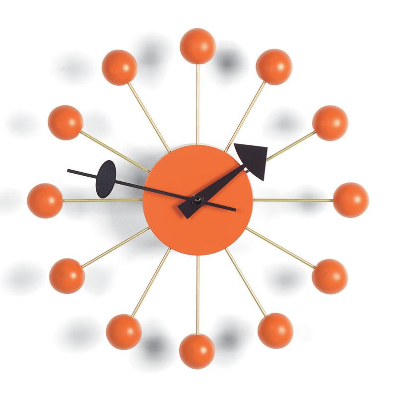 George Nelson Modern Orange Wood Ball Clock From Vitra Wall Clocks