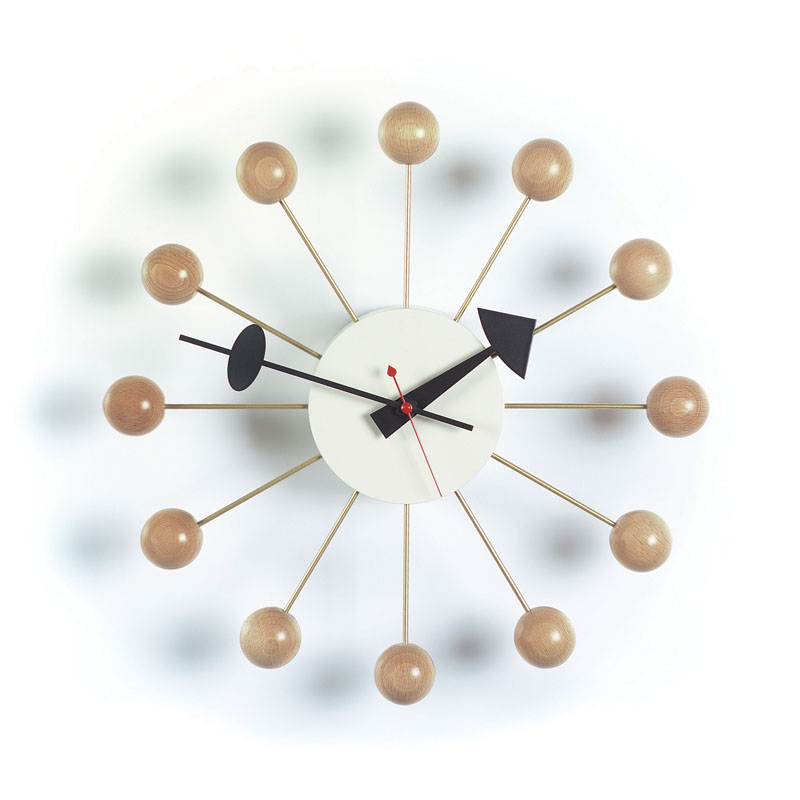 george nelson natural beech wood ball clock from vitra. Black Bedroom Furniture Sets. Home Design Ideas