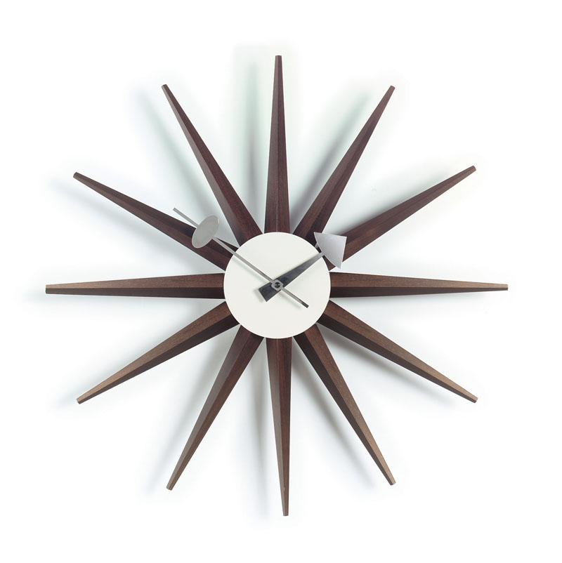 george nelson sunburst clock walnut vitra wall clocks. Black Bedroom Furniture Sets. Home Design Ideas