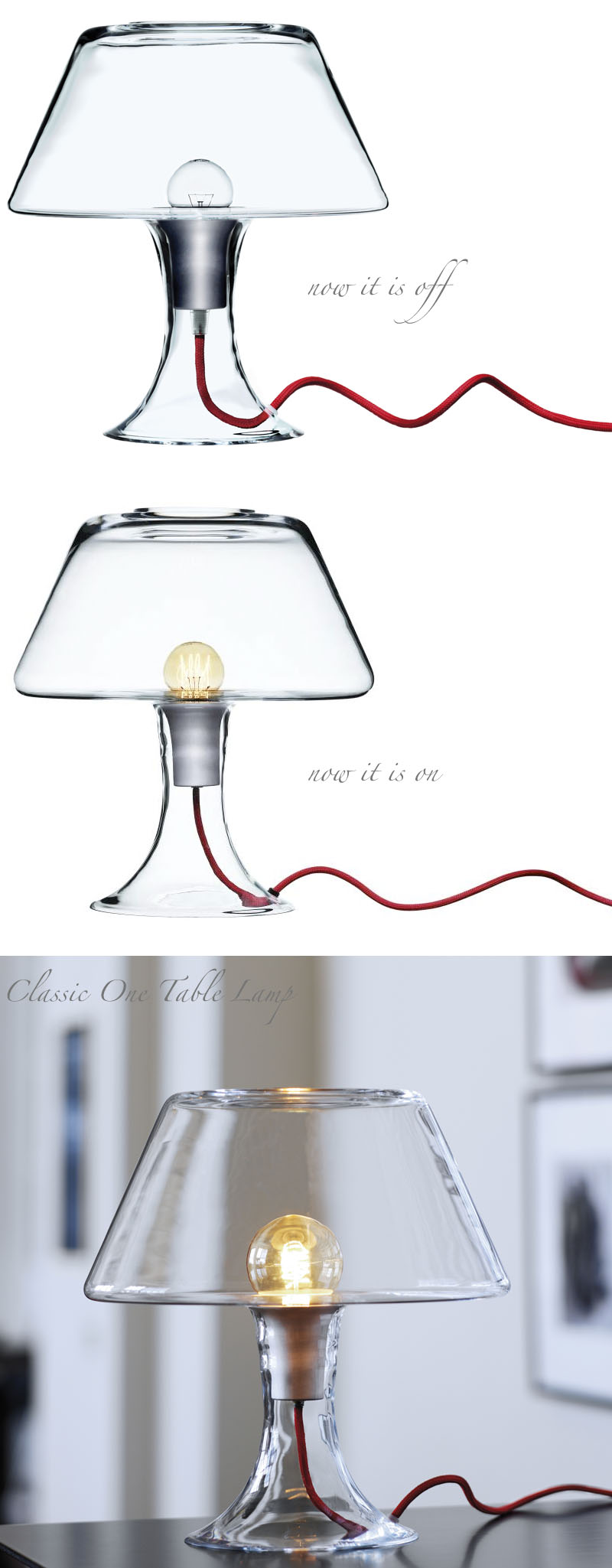 Modern glass table lamp - Maria Berntsen Classic One Modern Glass Table Lamp