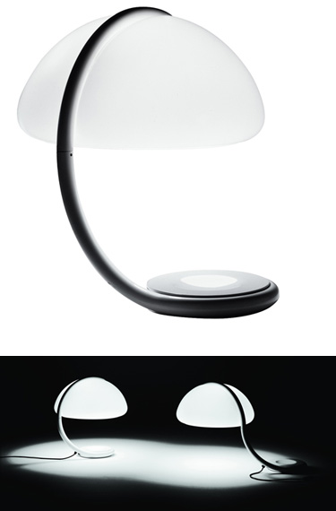 SERPENTE Italian 1960s Mid Century Modern All White Lucite Table Lamp