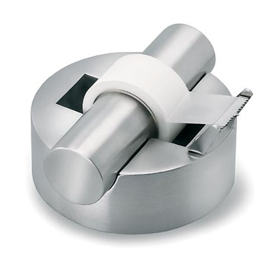 Tape dispenser A small tape dispenser A tape dispenser is an object that holds a roll of tape and has a mechanism at one end to shear the tape. Dispensers vary widely based on the tape they dispense. Abundant and most common, clear tape dispensers (like those used in an office or at home) are commonly made of plastic, and may be disposable.