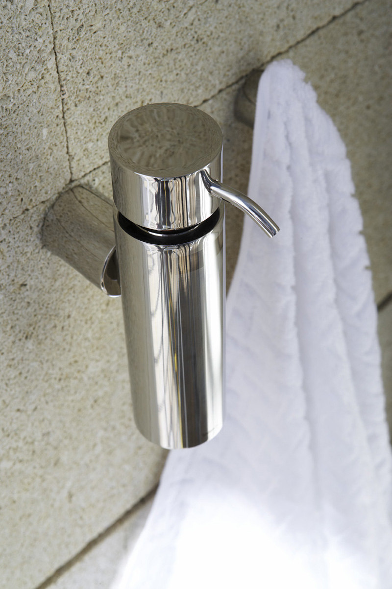 bathroom accessories: blomus duo wall mounted soap dispenser