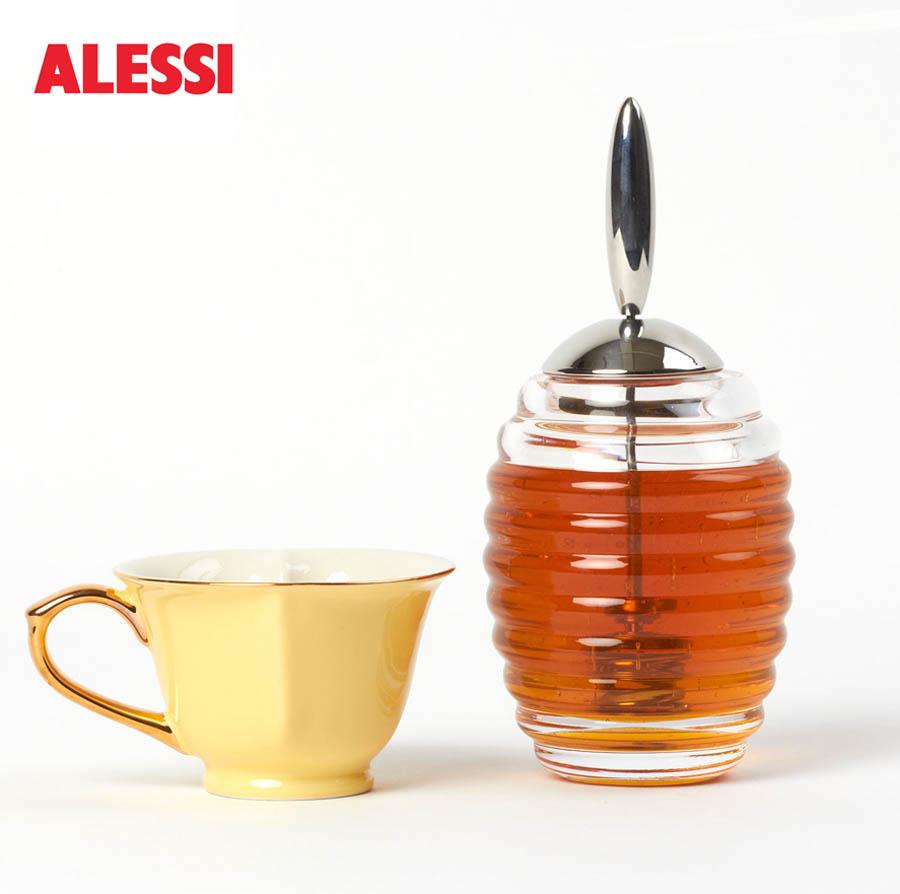 Alessi Glass Honey Dispenser Pot WStainless Steel Dipper