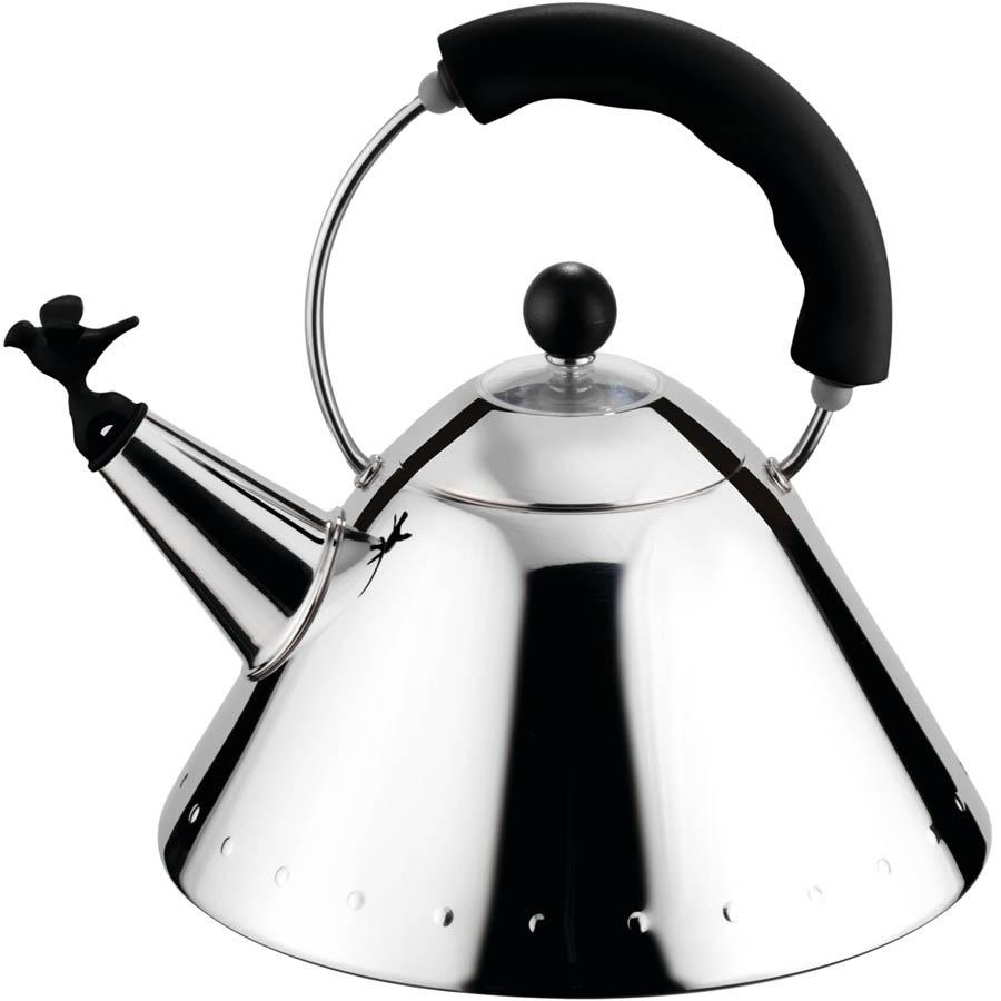 alessi b black michael graves tea kettle w bird whistle  - alessi b black michael graves tea kettle w bird whistle