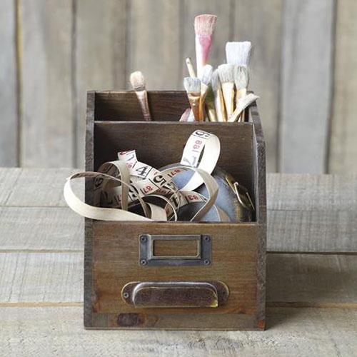 Antique Wooden Drawer Desktop Organizer for Art, Sewing, Crafts or Office - Antique Wooden Drawer Desktop Organizer For Art, Sewing, Crafts Or
