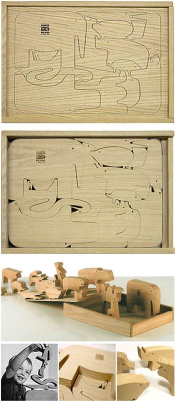 Enzo Mari: 16 Animali Italian Modern Design Wooden Puzzle