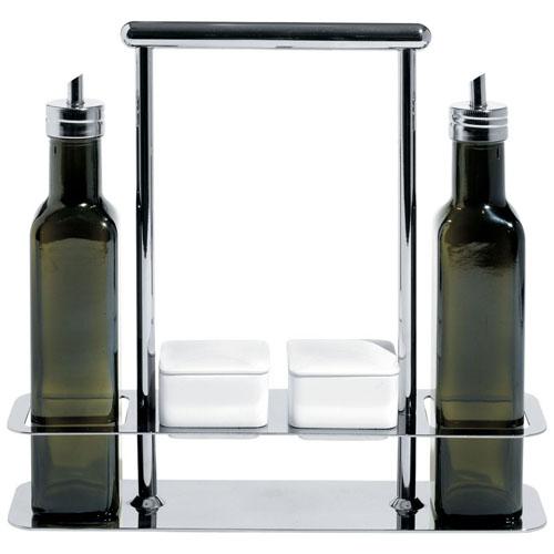 Italian Gl Oil And Vinegar Set W Steel Olive Pourer Spouts Nova68