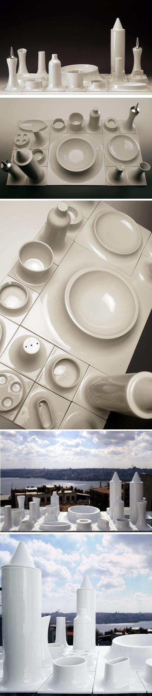 Karim Rashid: Morphescape Tableware: NOVA68.COM MODERN DESIGN :  home dining black and white porcelain