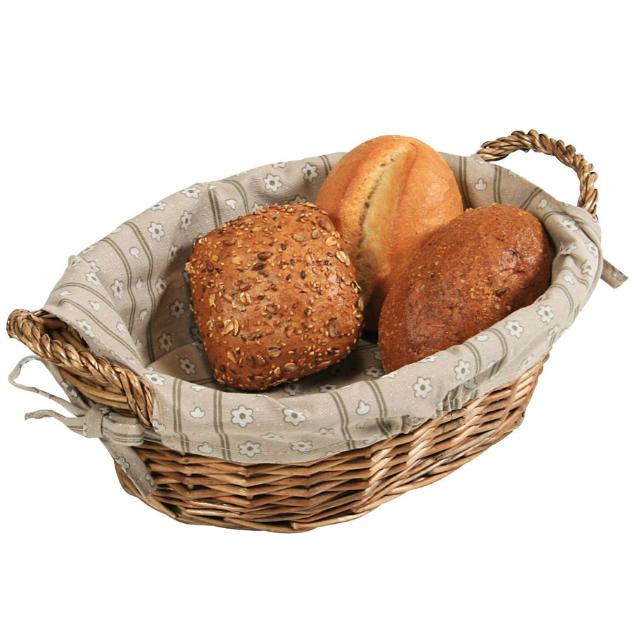 Artisan Small Wicker Cracker Bread Basket With Linen Liner
