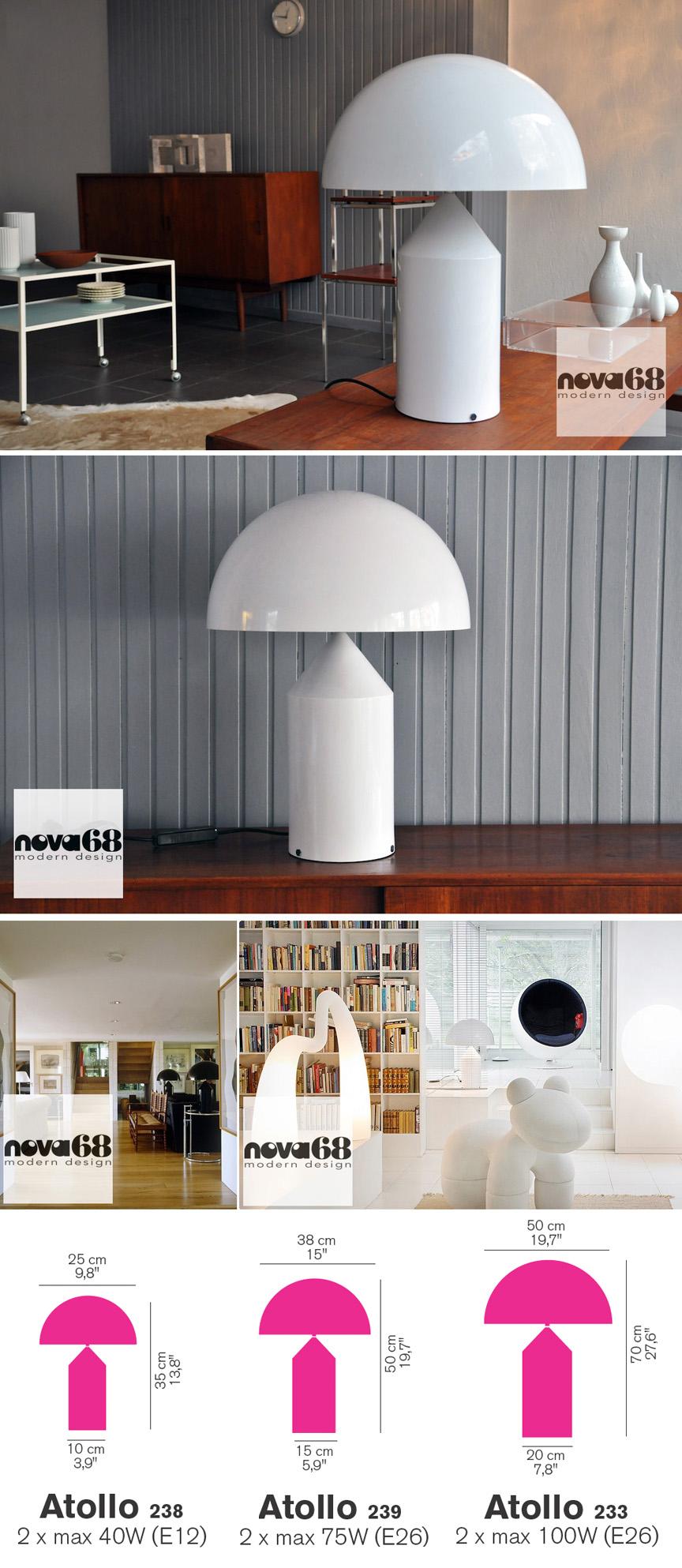 Vico Magistretti Oluce Atollo 233 Modern Table Lamp NOVA68 Design