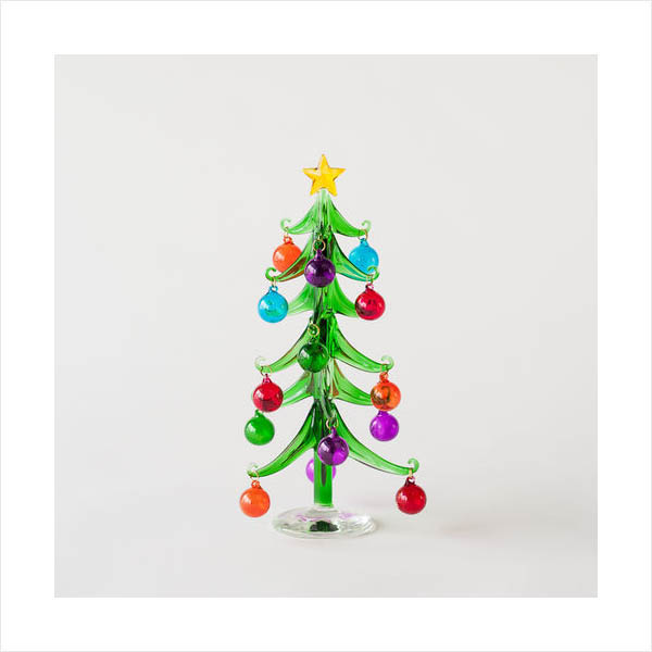 Mini Modern Glass Christmas Tree With Clear Base 1025cm