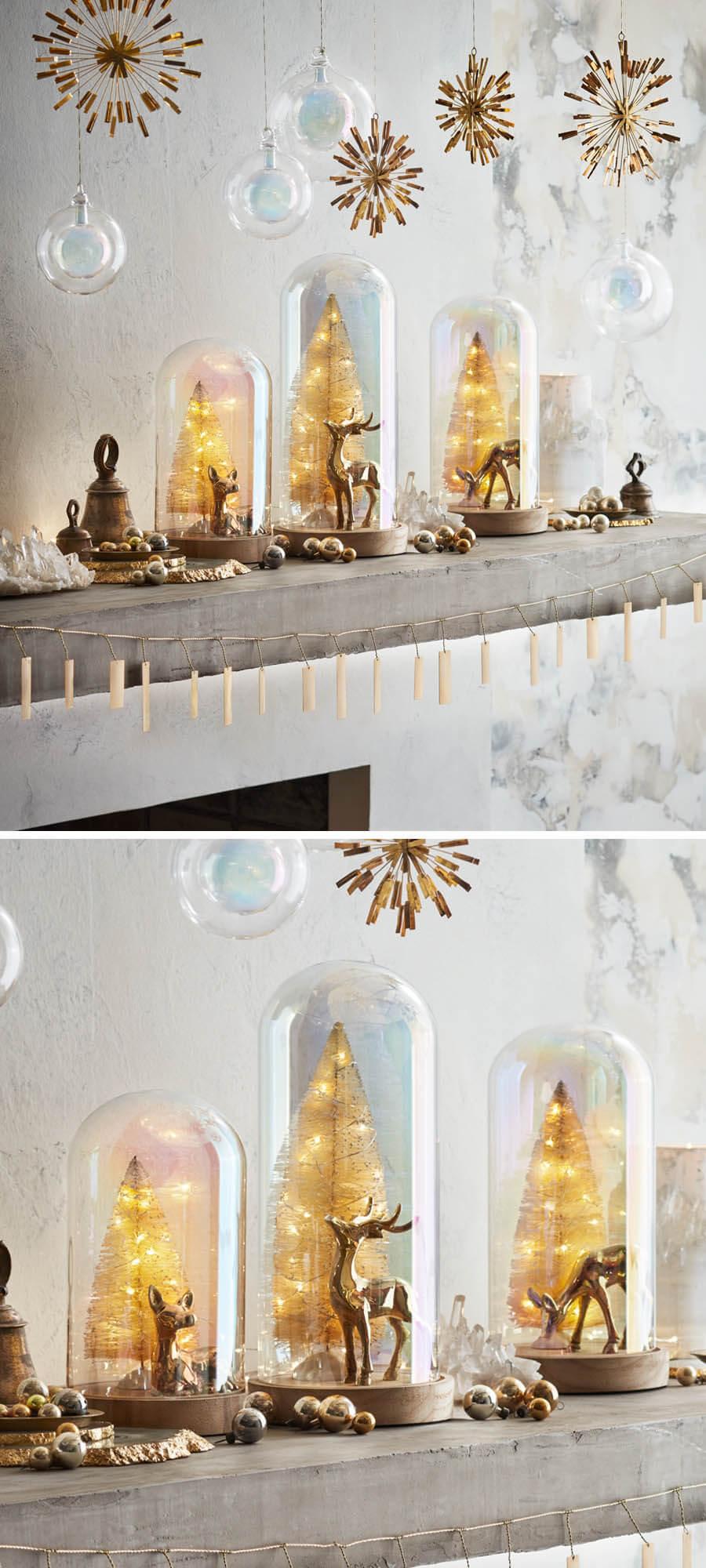 3 Pre Lit Christmas Tree.Lighted Set 3 Christmas Tree Glass Domes With Deer Trees