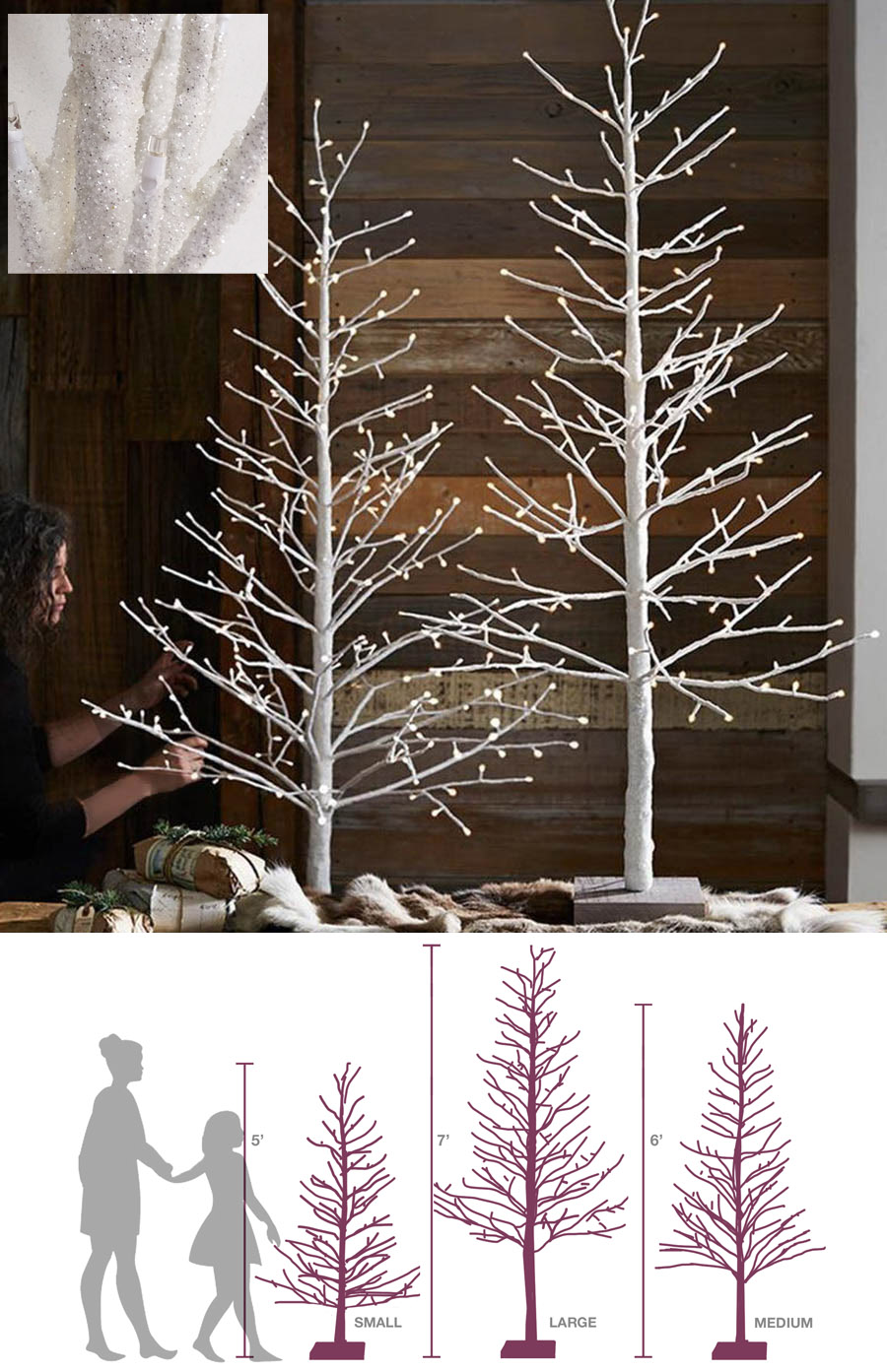 Pre Lit White 5 6 7 Ft Christmas Glitter Tree W Micro Led Lights