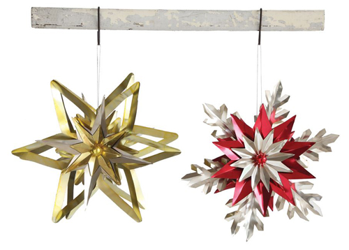 retro 1950s style jumbo snowflake christmas ornament set of 2 - Vintage Christmas Decorations 1950s