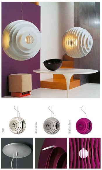 Foscarini: Ferruccio Laviani Supernova Suspension Lamp: nova68 modern contemporary furniture design and lighting :  lamp pink aluminum silver