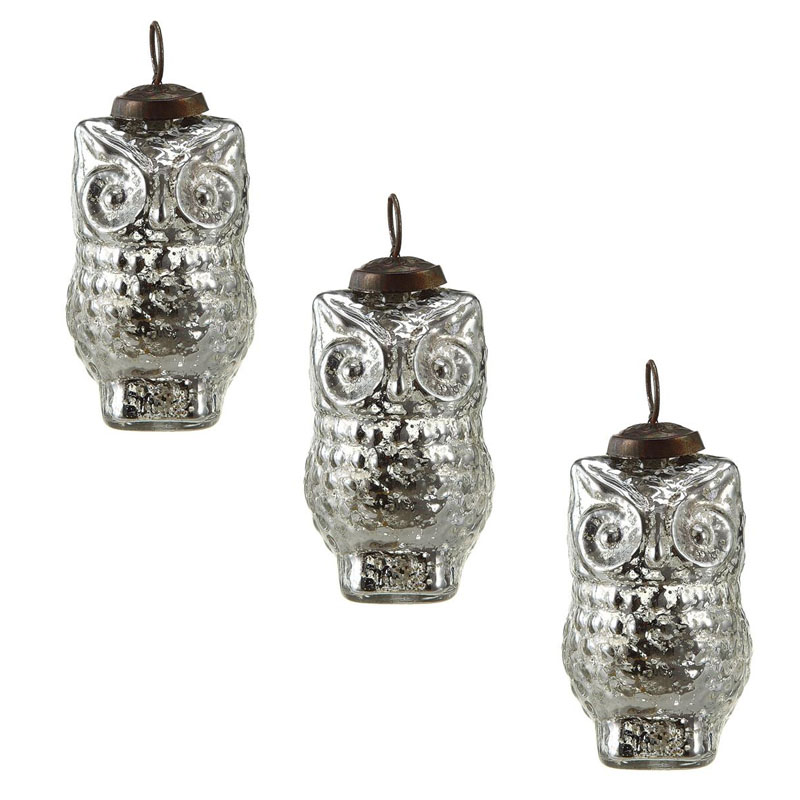 Silvered 4 owl tree ornaments set 12 antique glass Vintage glass christmas tree ornaments