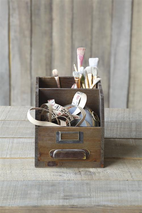 Antique Wooden Drawer Desktop Organizer For Art Sewing