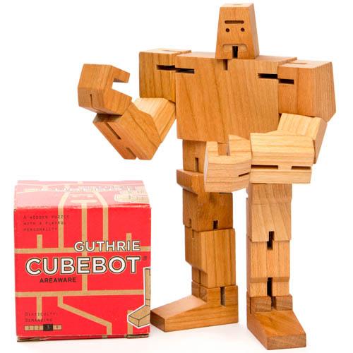 Guthrie Cubebot Wooden Robot With Poseable Limbs Nova68 Com