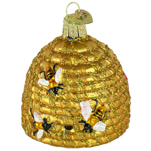 Basket Weaving Ornaments : Woven beehive basket ornament for christmas tree set of
