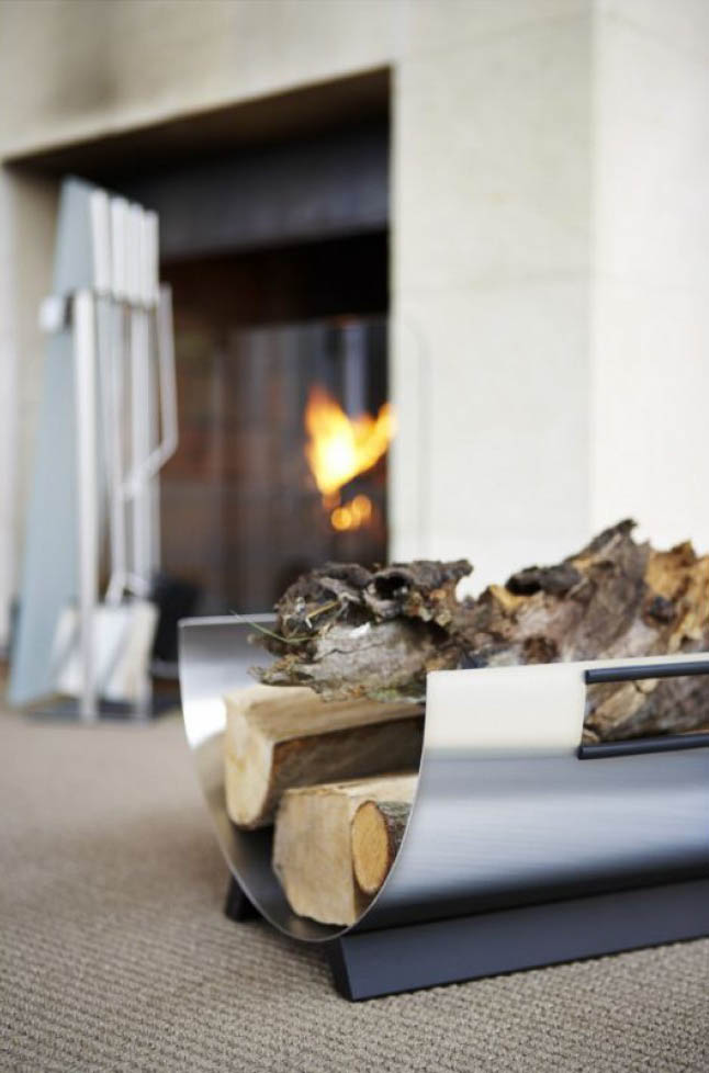 fireplace accessories blomus stainless steel firewood log