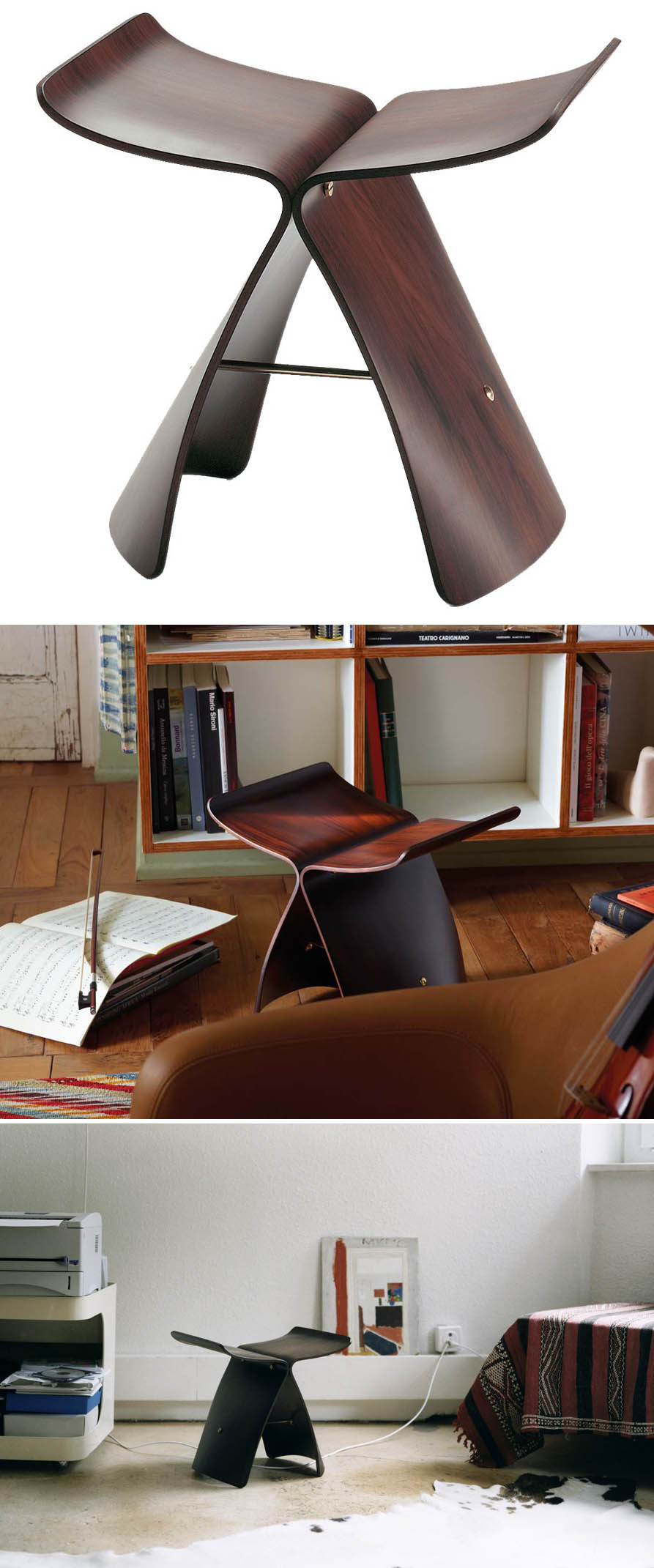 sori yanagi butterfly rosewood vitra butterfly stools. Black Bedroom Furniture Sets. Home Design Ideas