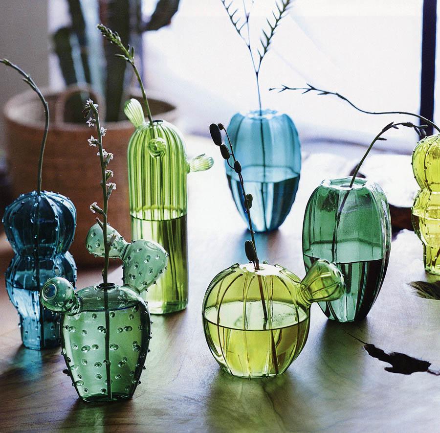 5 Piece Cacti Blown Glass Cactus Shape Flower Vase
