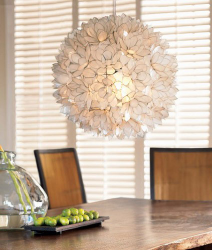 Decorative Warm White Capiz Shell Hanging Pendant Light