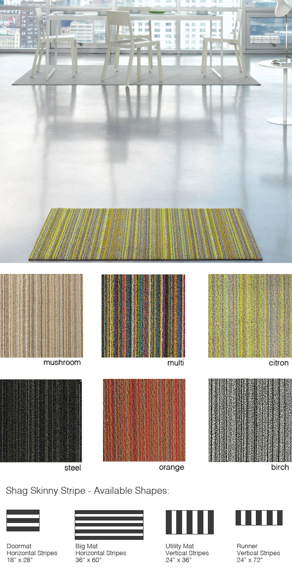 Chilewich Shag Skinny Stripe Indoor Outdoor Utility Mat