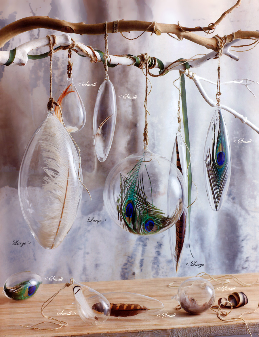 christmas tree ornaments with feathers click to view additional images - Feather Christmas Trees
