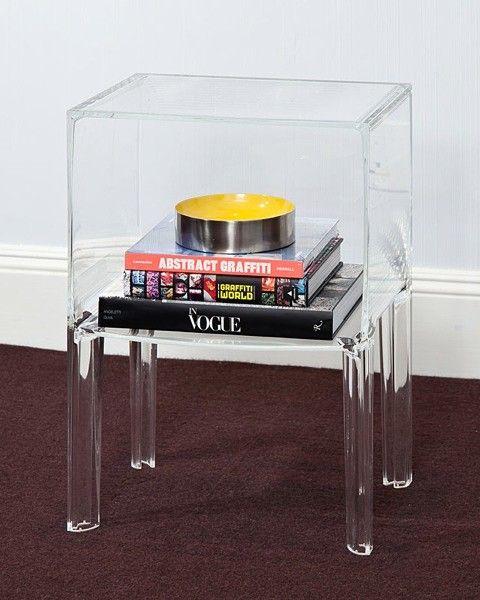 Shelf Clear Acrylic Lucite Bedside Table  NOVA68.com