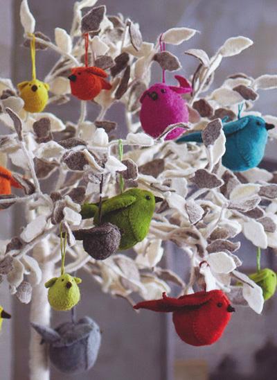 Colorful bird felt ornament for christmas nova