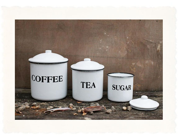 Country Kitchen Canister Set with Black Letter Décor
