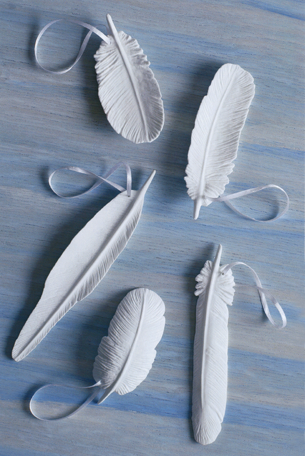 White Porcelain Modern Feather Christmas Tree Ornaments