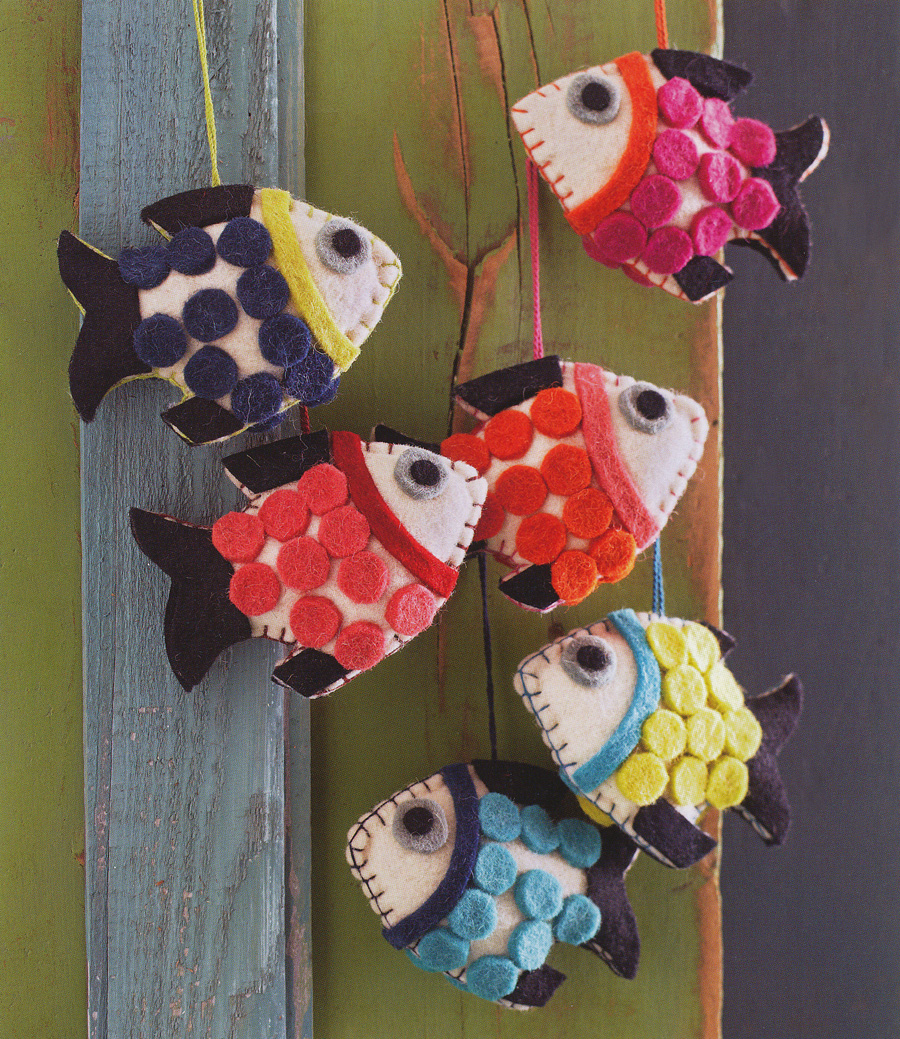 Felt School Of Fish Christmas Tree Ornaments Set 6