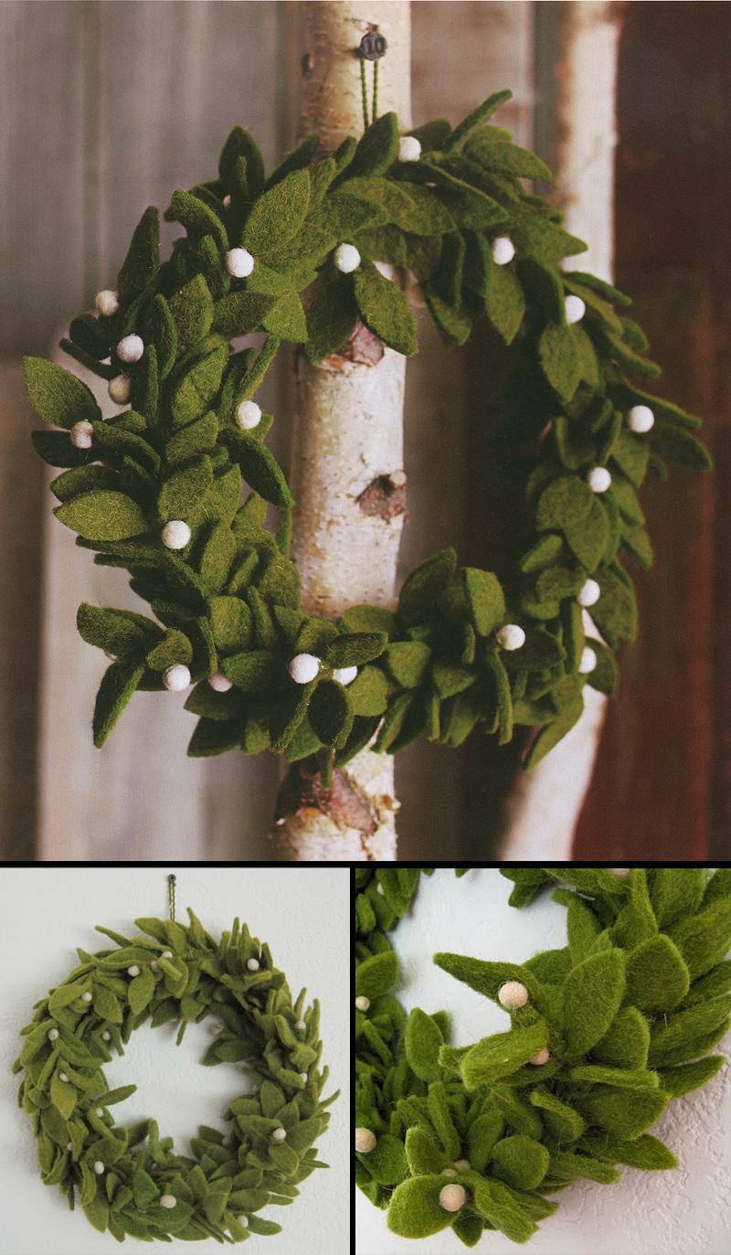 Green Felt Wreath With Mistletoe Accents Christmas
