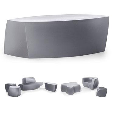 Frank Gehry Original Heller Modern Outdoor Bench, Silver