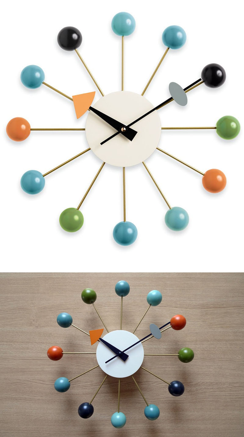 george nelson ball wall clock  multicolored  vitra clocks  - george nelson ball wall clock  multicolored  vitra clocks