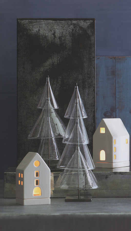 scandinavian modern glass christmas trees set of 2 click to view additional images - Glass Christmas Tree