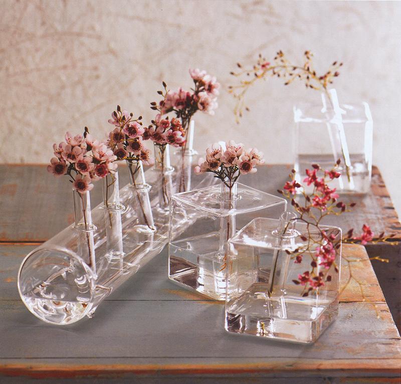 Modernist Ikebana Vases Cube And Circular Glass Vase
