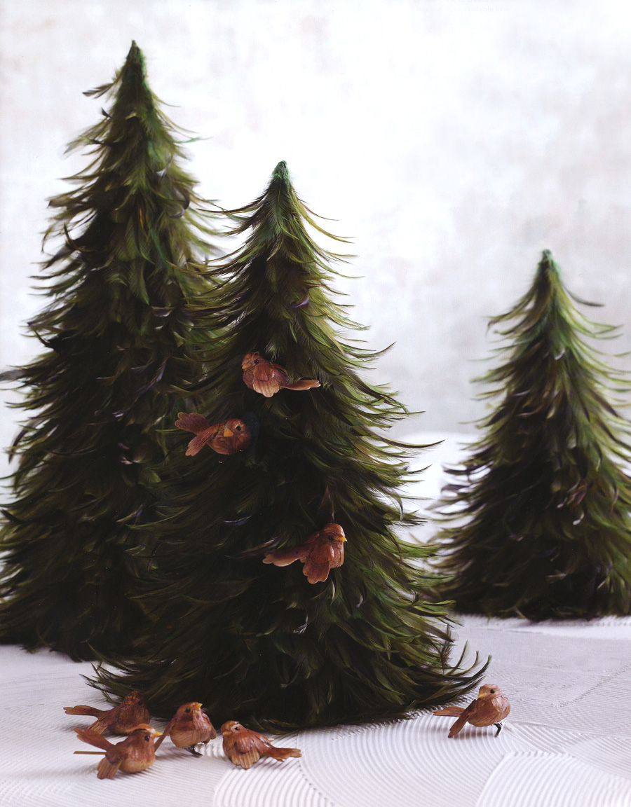 3 Table Top Mantel amp Room Decor Feather Christmas Trees