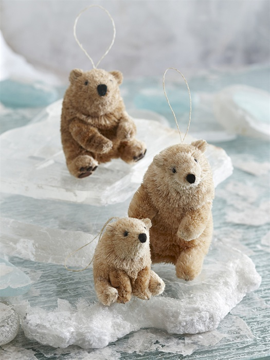 bottlebrush polar ice bear 55 christmas set of 3 ornaments click to view additional images