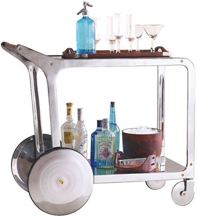 Circa Streamlined Mid Century Modern Design Bar Cart