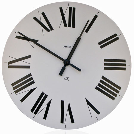 Alessi classic firenze wall clock with roman numerals white nova68 modern design - Large roman numeral wall clocks ...