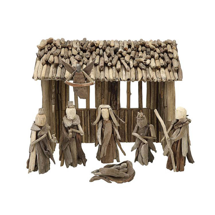 Large Natural Wooden Christmas Manger NOVA68com