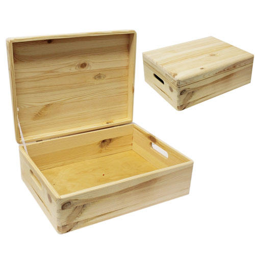 Medium 1575 Natural Wood Closet Storage Box With Lid And