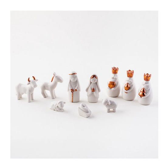 White Miniature Porcelain Nativity Scene Sets with Box   NOVA68.com