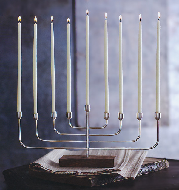 contemporary modern menorah for hanukkah silver
